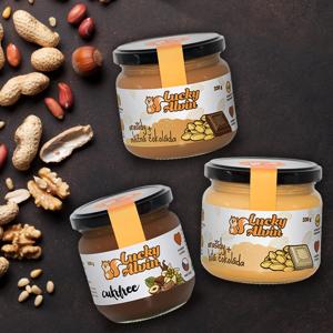 Oříškové másla Lucky Alvin 330g Arašídy / Bílá čokoláda